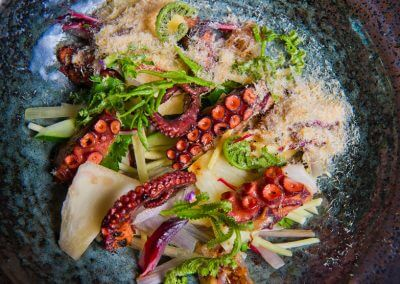 Spanish octopus slow poached in it's own juices, fiddle head fern, scallop powder, som saa /som jiid asian citruses