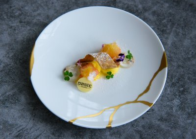 Calamansi curd with caramelised tofu skin, basil flower jelly and candied pomelo.